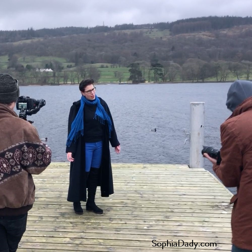 Sophia Dady filming her Music Video for the single Bluebird at Coniston Water