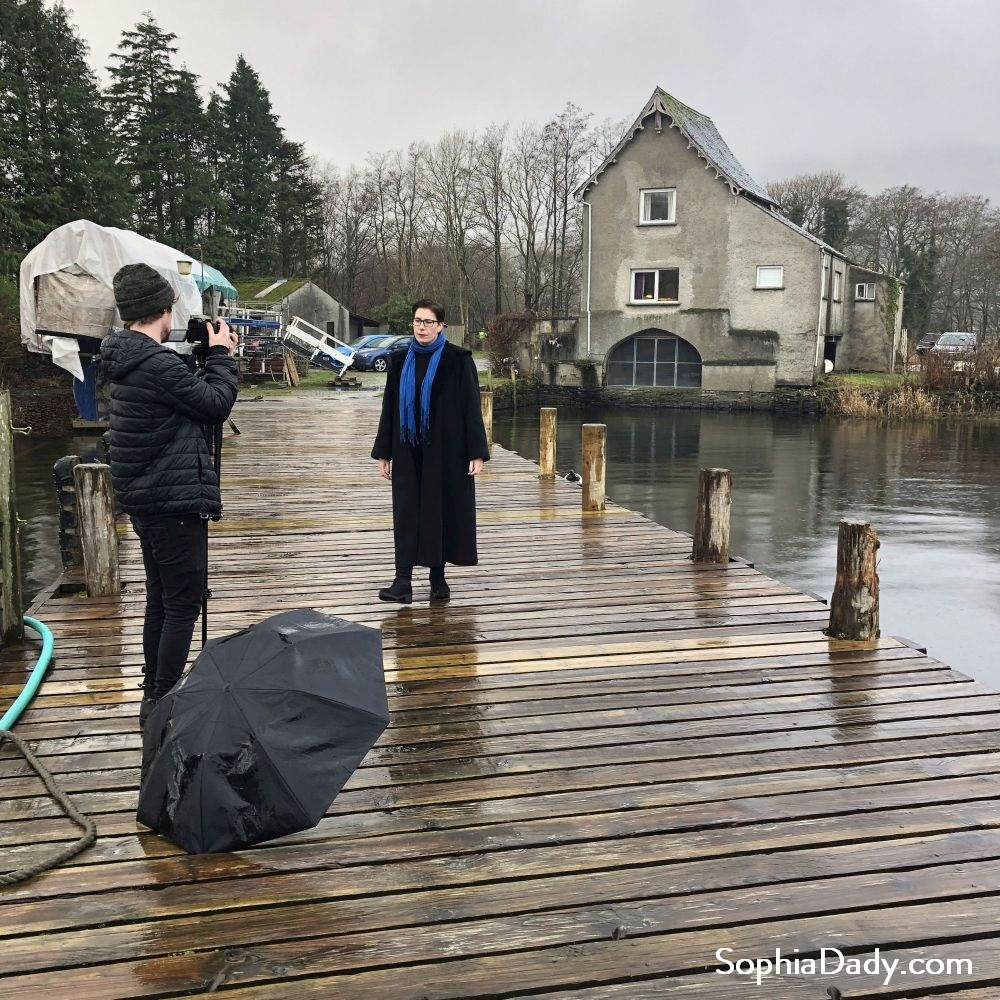 Sophia Dady filming her Music Video for the single Bluebird at Pier Cottage Coniston Water